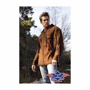Chemise cuir frange Crocket Stars and Stripes Chemises Manches longues Homme st-crocket